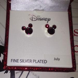 DISNEY MICKEY RUBY JULY BIRTHSTONE EARRINGS**NIB!!